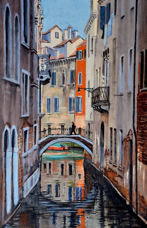 Canal Bridge, Venice. Oil 27 x 41cm