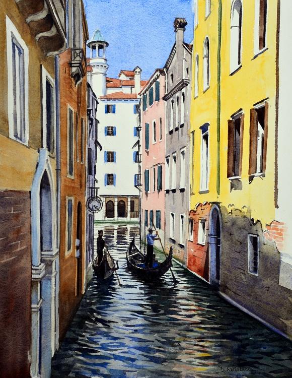 Canal scene, Venice. Watercolour 36.5 x 47cm