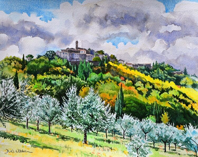 Chiusdino, Tuscany  Watercolour 48 x 39cm