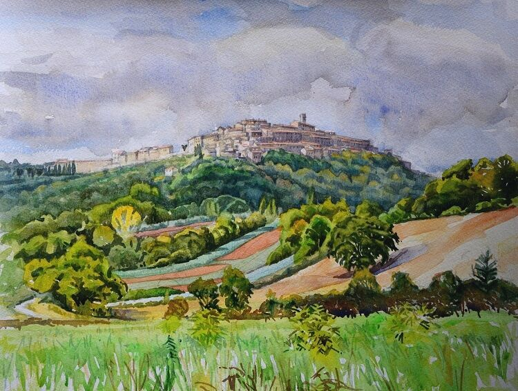 Chiusdino from the valley. Watercolour  48 x 37cm