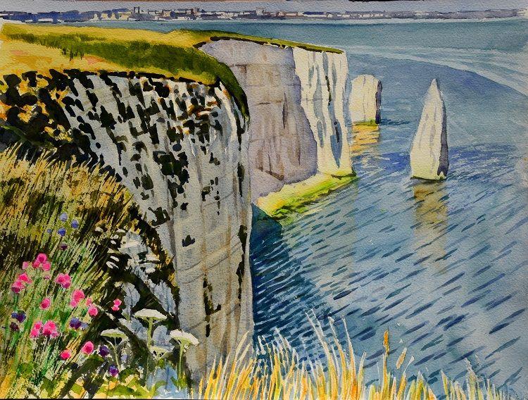 Cliffs near Old Harry, Dorset. Watercolour 40 x 30cm