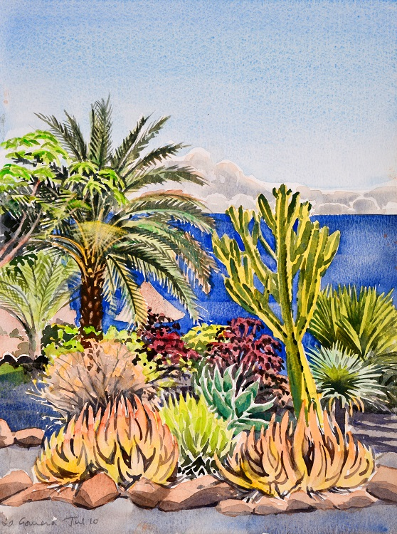 Clifftop cactus garden, La Gomera, Canaries Watercolour 30 x 39cm