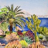 Clifftop cactus garden, La Gomera, Canaries Watercolour 30 x 39cm