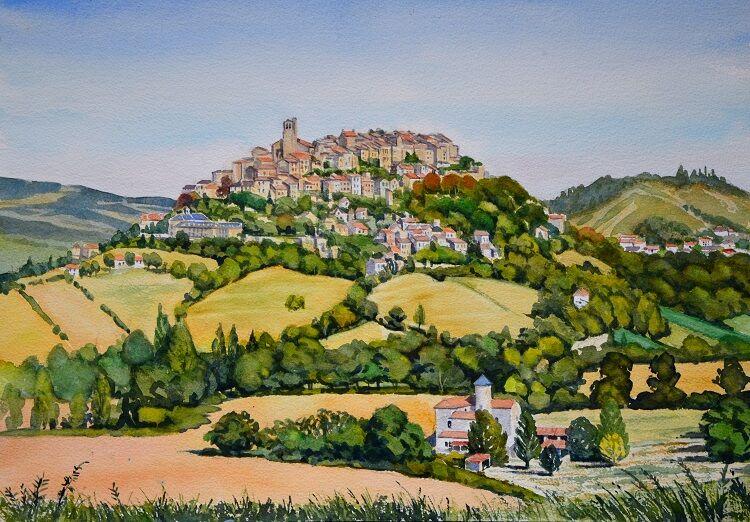 Cordes sur Ciel, France  Watercolour 50 x 35cm
