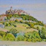 Cordes sur Ciel, France, Watercolour, 37 x 27cm