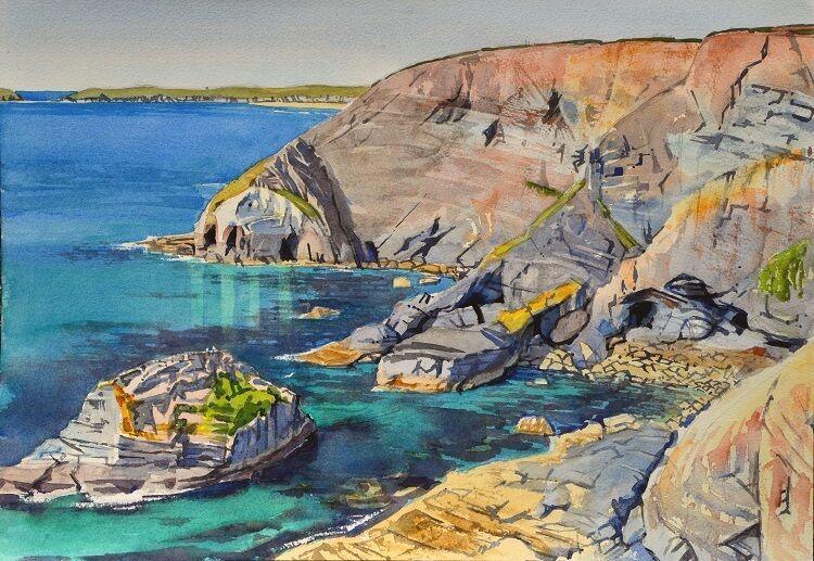 Cornish Cliffs near St Agnes Watercolour  49 x 35cm