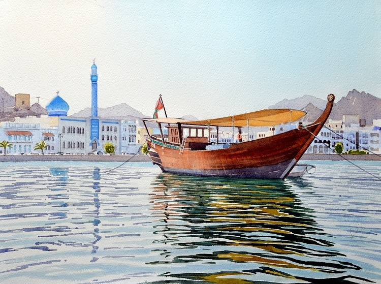 Dhow in Muttrah harbour. Watercolour 58 x 43.5cm