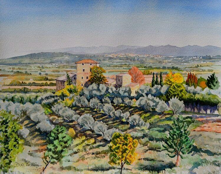 Distant view of Siena from Stigliano, Tuscany  Watercolour  46 x 39cm