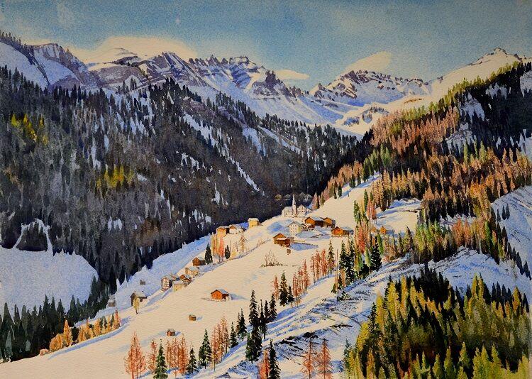 Dolomites Village  Watercolour 74 x 54cm