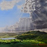 Dramatic Sky over Semerwater, Wensleydale. Watercolour 74 x 55cm