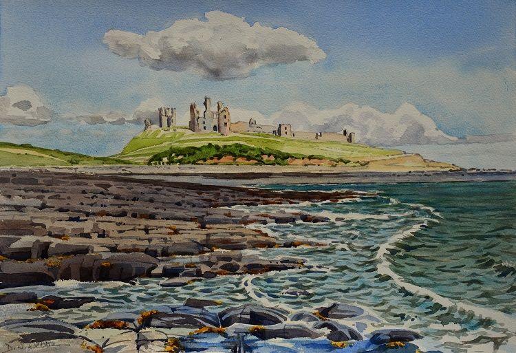Dunstanburgh Castle, Northumbria. Watercolour 50 x 35cm