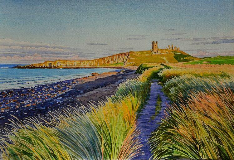 Dunstanburgh Castle, evening. Watercolour 50 x 35cm