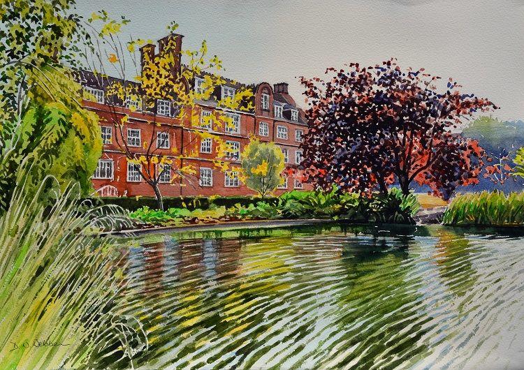 The Hostel across the pond, Emmanuel College, Cambridge. Watercolour 50 x 35cm