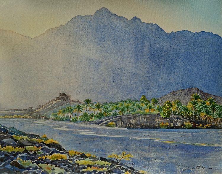 Evening light in Wadi Tayeen. Watercolour 50 x 40cm