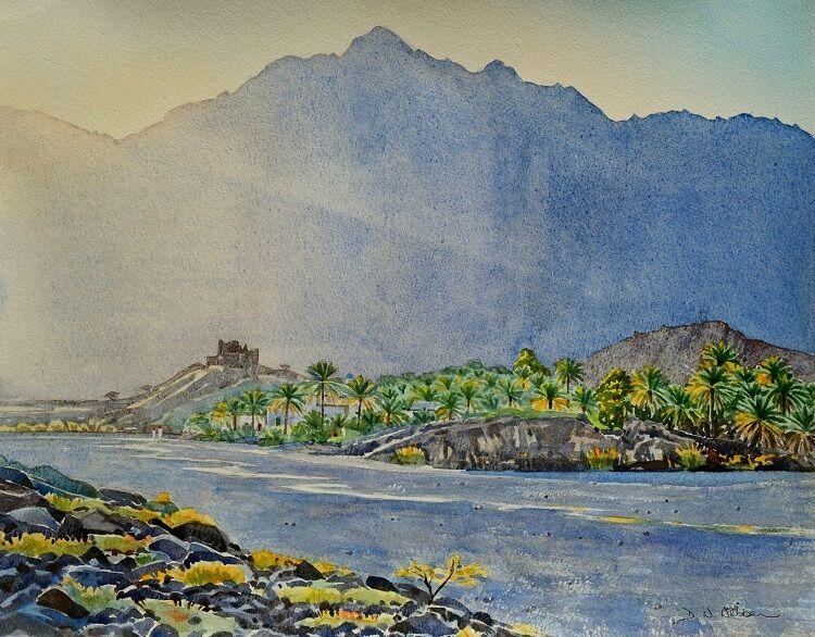 Evening light in Wadi Tayeen. Watercolour 50 x 40cm2adj
