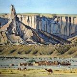 Faisal Pinnacle and village, Tuwaiq Escarpment, Saudi Arabia 69 x 47cm