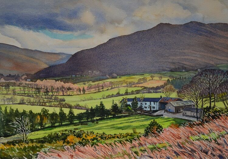Farm in Newlands Valley, Cumbria  Watercolour 56 x 38cm