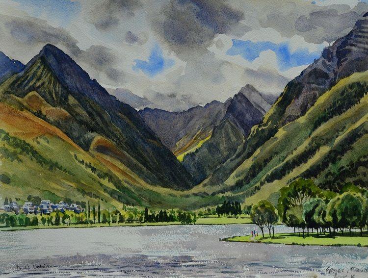 Genos, French Pyrenees. Watercolour 50 x 40cm