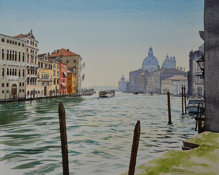 Grand Canal and Santa Maria della Salute, Venice. Watercolour 47 x 40cm