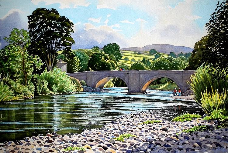 Grinton Bridge, Swaledale, North Yorkshire. Watercolour 57 x 38cm