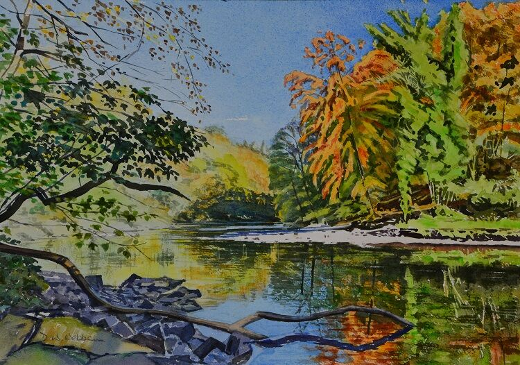 Bend on the Ure at Hackfall, Autumn Watercolour 36 x 51cm