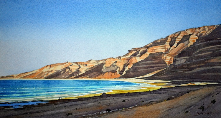 Hasik Beach, Dhofar. Watercolour 52 x 28cm