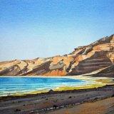 Hasik Beach, Dhofar. Watercolour 52 x 28cm