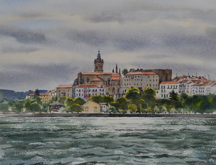 Hondarribia across the bay from Hendaye, France. Watercolour, 37 x 29cm