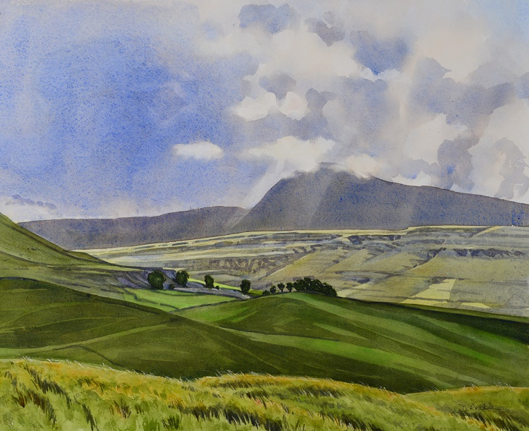 Ingleborough from Kingsdale Road, Yorkshire Dales. Watercolour 56 x 45cm