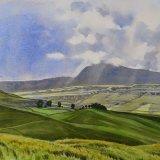 Ingleborough from Kingsdale Road, Yorkshire Dales. Watercolour 56 x 45cm