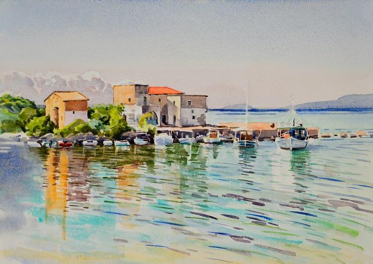 Kardamyli Harbour, Greece. Watercolour 48 x 35cm