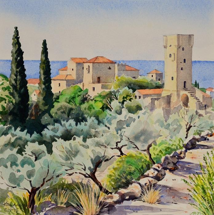 Kardamyli OldTown, Greece. Watercolour 36 x 36cm