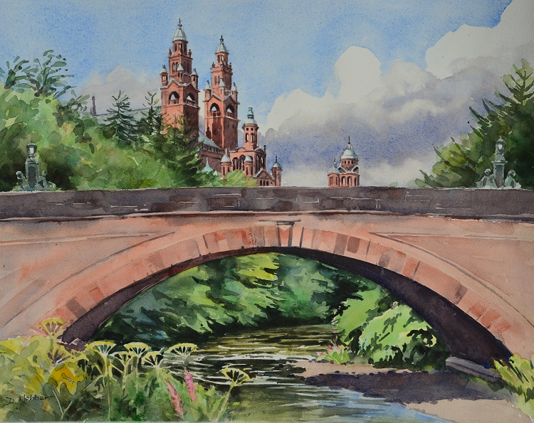 Kelvinway Bridge & Kelvingrove Museum, Glasgow. Watercolour 54 x 43cm