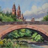 Kelvinway Bridge & Kelvingrove Museum, Glasgow. Watercolour 54 x 43cm