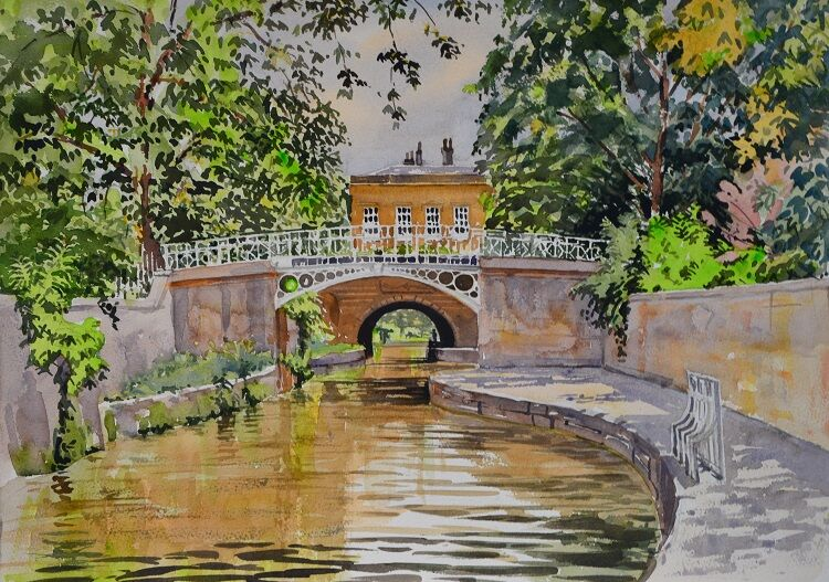 Kennet and Avon Canal in Bath  Watercolour 50 x 36cm