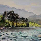 Koprulu Canyon River, Antalya, Turkey. Watercolour 39 x 30cm