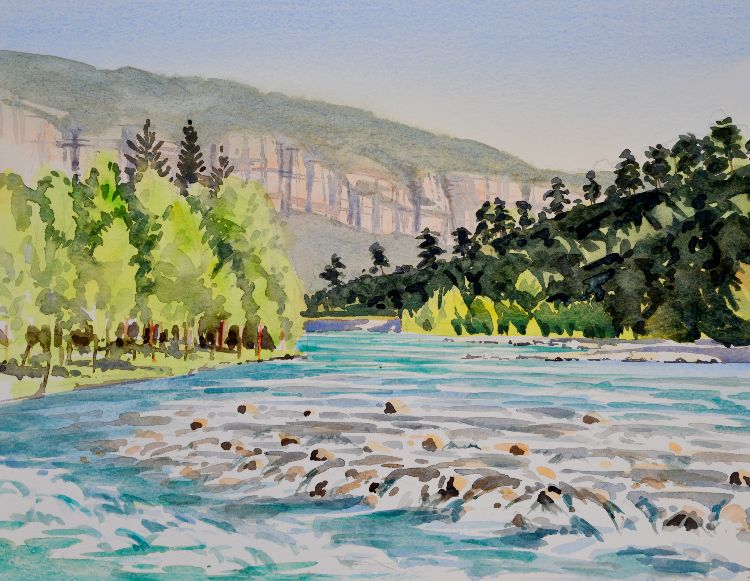 Koprulu Canyon rapids, Antalya, Turkey. Watercolour 39 x 30cm