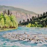 Koprulu Canyon rapids, Antalya, Turkey. Watercolour 39 x 30cm