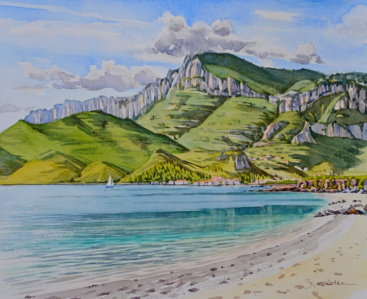Kyparissi Bay, Pelleponese, Greece. Watercolour 50 x 40cm