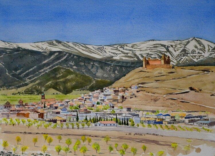 La Calahorra, Spain  Watercolour 57 x 42cm