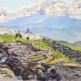 Laroles & Sierra de Gador, Alpujarras, Spain. Watercolour 70.5 x 50cm