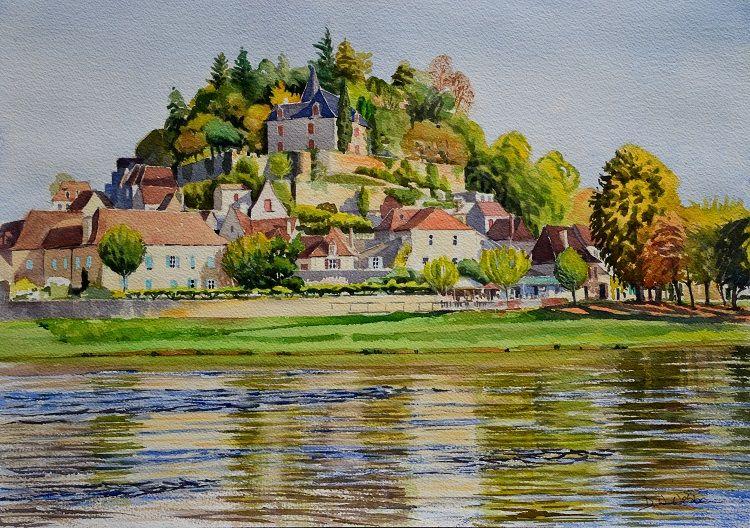 Limeuil across the Dordogne, France. Watercolour 50 x 35cm