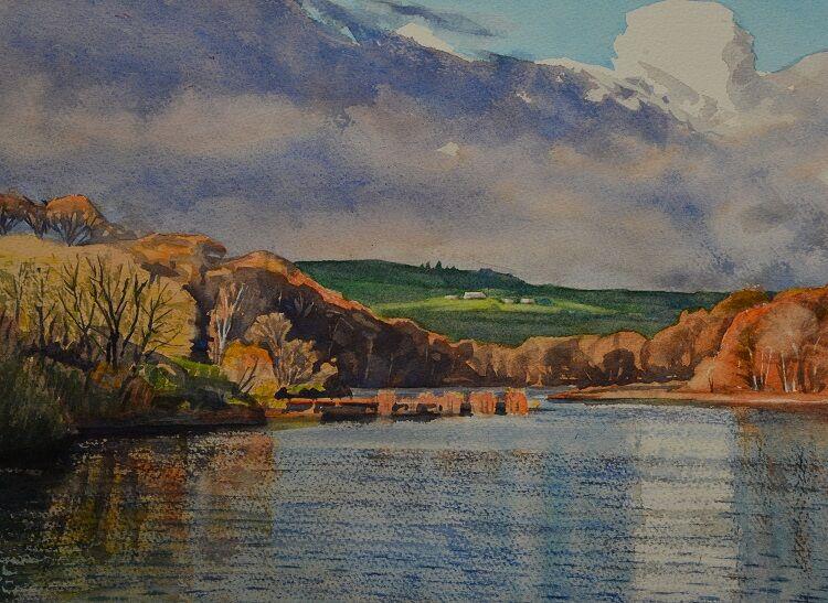 Linley Wood Reservoir, Washburn Valley. Watercolour 37 x 27cm