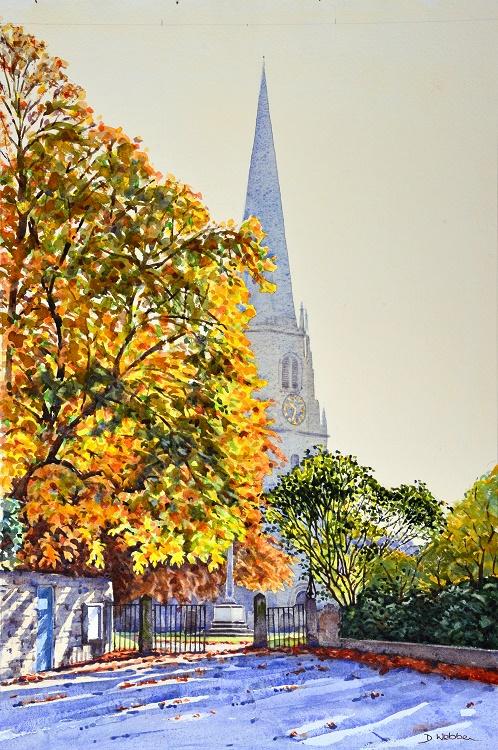Masham Church, North Yorkshire. Watercolour 48 x 70cm