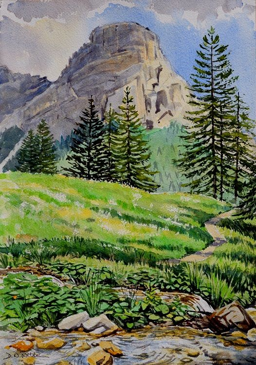 Meadow scene with Sassongher, Dolomites, Italy. Watercolour 46 x 32cm