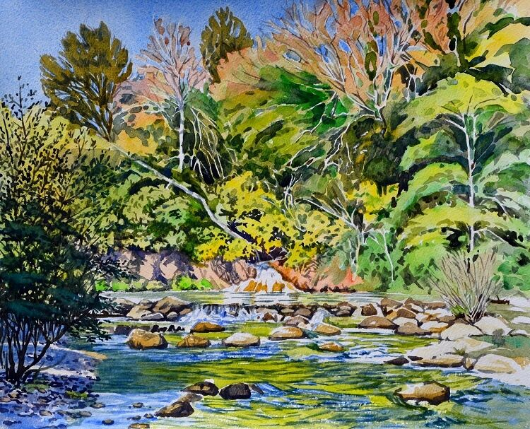 Merse River near Brenna, Tuscany Watercolour 49 x 40cm