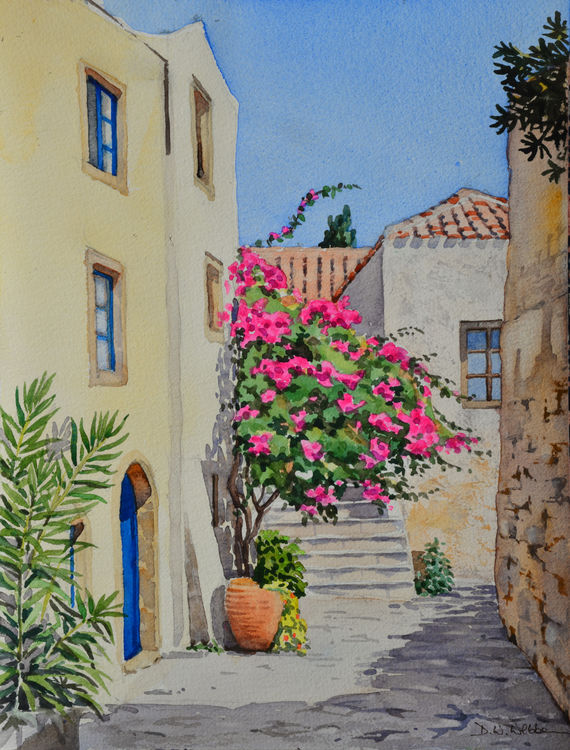 Corner in Monemvasia, Greece. Watercolour 30 x 40cm