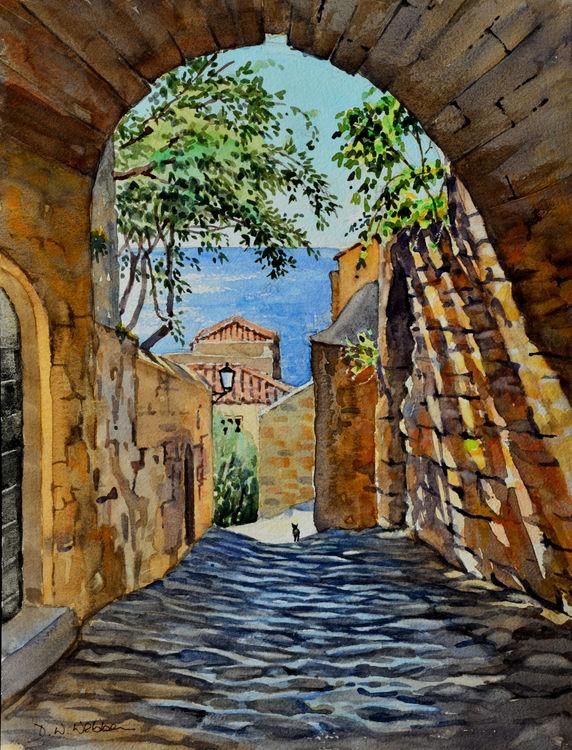 Street in Monemvasia, Greece. Watercolour 30 x 40cm