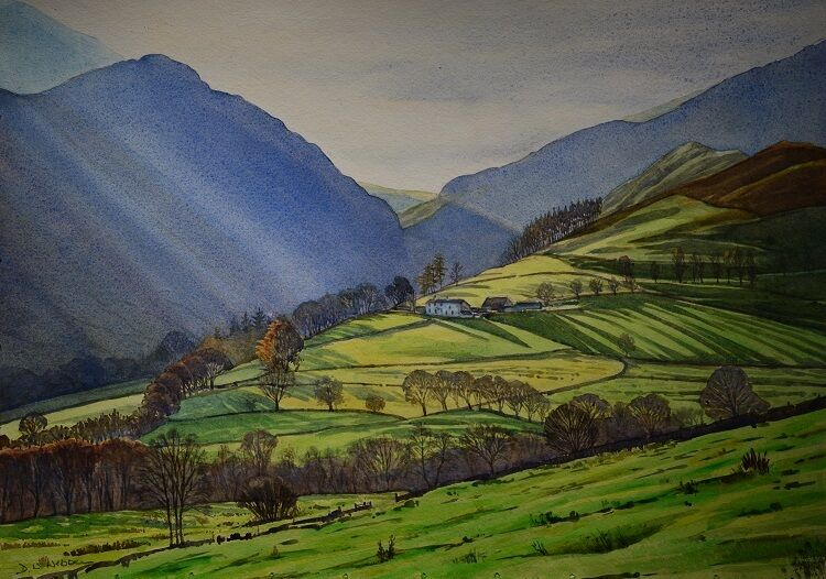 Morning in the Newlands Valley, Lake District  Watercolour  74 x 54cm