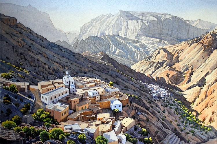Mountain villages, Jebel Akhdar. Watercolour 72 x 49cm
